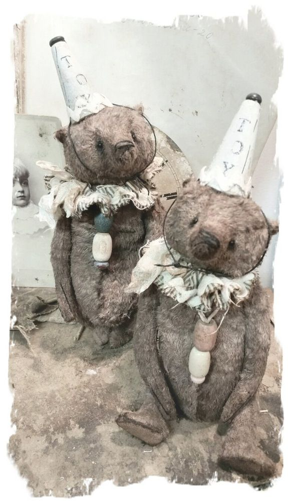 """Image of """"TOY"""" (pink) - Antique Style - 8"""" Old & Worn Brown Bear with Pouty Face * By Whendi's Bears"""
