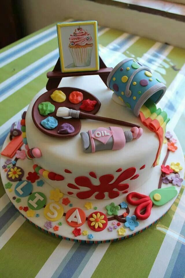 arte pinturas atril paleta de oleo colores .Art and artist fondant cake