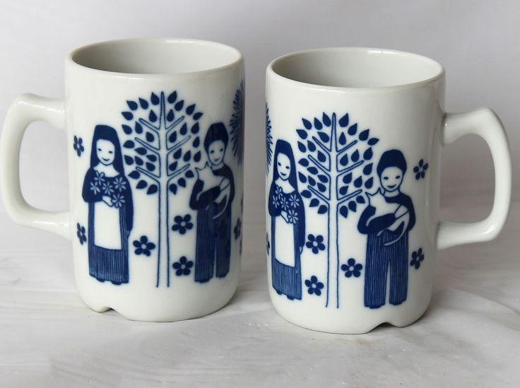 Pair VIntage PORSGRUND CUPS Coffee Mugs Children Tree Cat Sun Porcelain