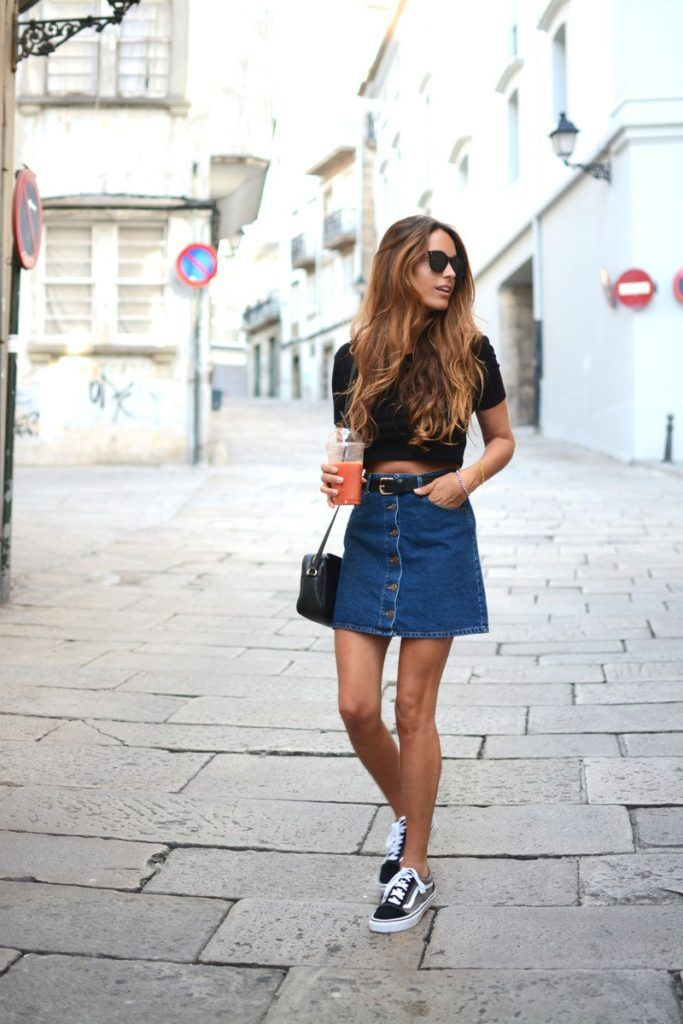 The button front denim skirt is so versatile. Add a black crop top and practically any type of sneakers and you are good to go. Via Stella Wants To Die Skirt: Bershka, Sneakers: Vans, Sunglasses: Dior, Bag: Gucci, Top/Belt: Stradivarius. Denim Skirt Outfits