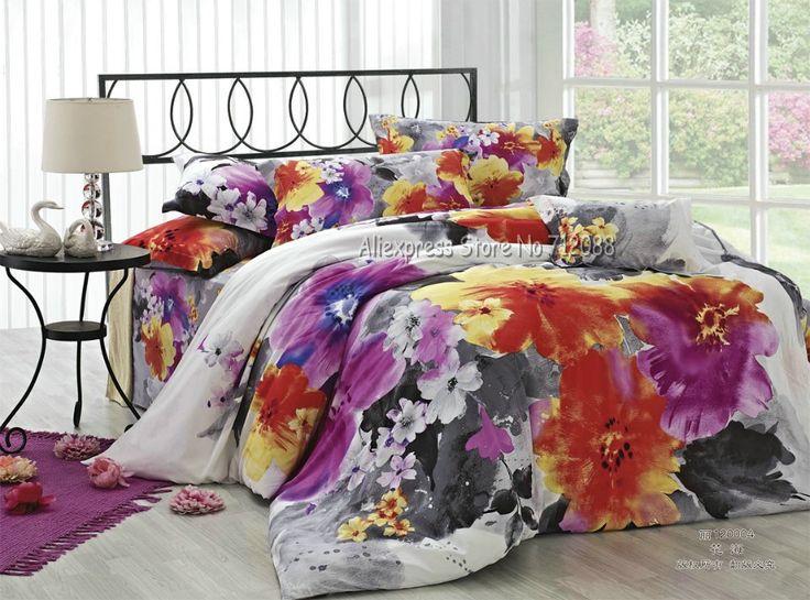 Wholesale Purple Yellow Orange Flower Gray Duvet Quilt