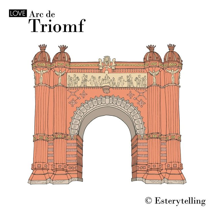 Arco de Triunfo, in Barcelona. I illustrated it for @wanderworldmaps  #esterytelling #illustrator #illustration #drawing #sketching #souvenir #travel #trip #map #color #tourism #bcn #barcelona #triunfo #arco #arcodetriunfo #architecture #color #travelwithkids