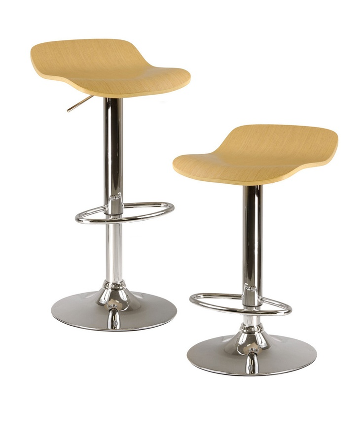 winsome wood kallie set of 2 air lift adjustable stool cappuccino color wood veneer top and metal base