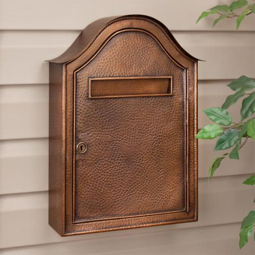 Large Hammered Copper Locking Wall-Mount Mailbox - Antique Copper