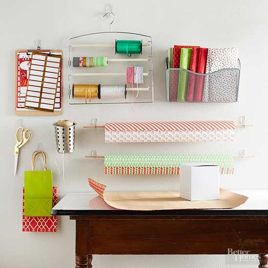A corner in your office, guest bedroom, or kids playroom can serve as gift wrapping central.