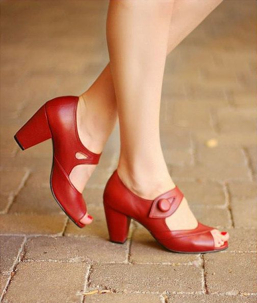 Handmade 1940's vintage style shoe dorothy from by FrenchieYork Women's shoes heels pumps for fall