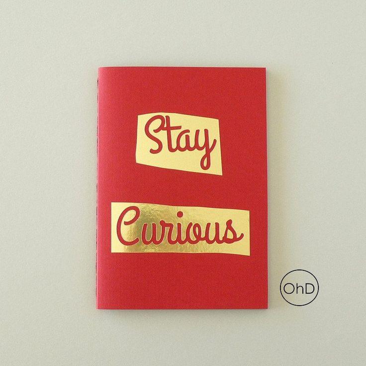 Notebook - Sketchbook - Journal - Stay Curious - Motivational - Red, gold foil, gray #goldfoil #handmadejournal