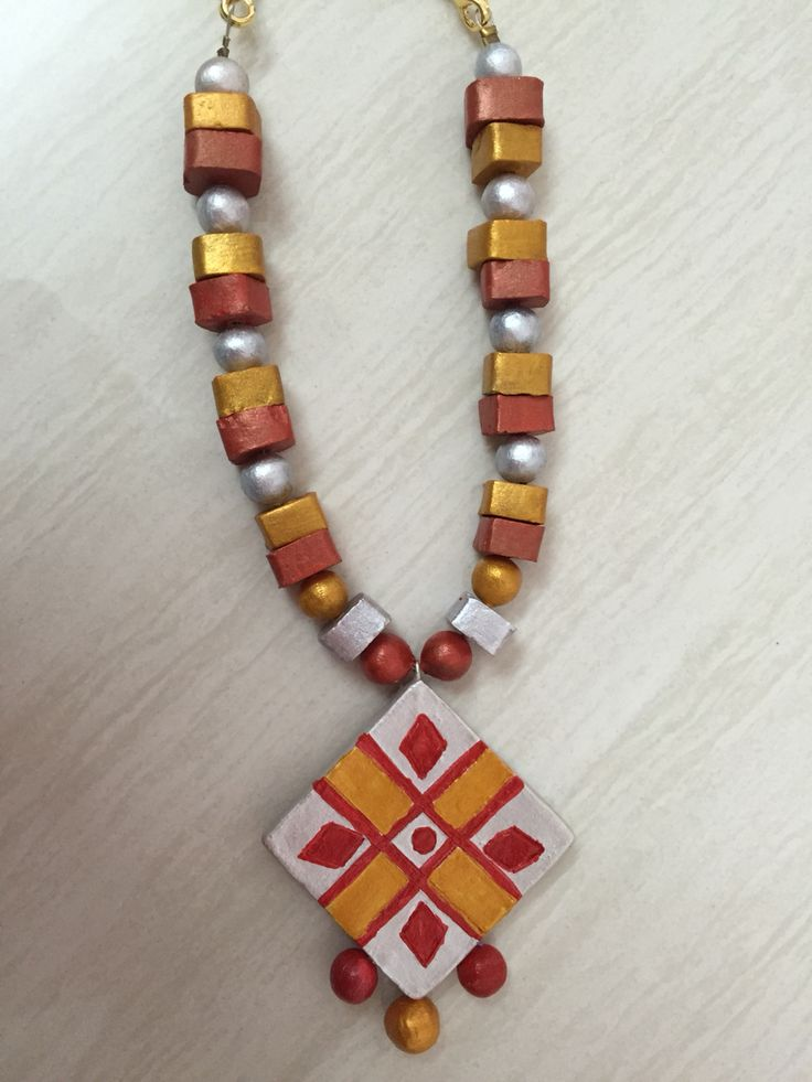 Terracotta Jewellery - red and silver