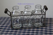 Primitive Chicken Wire Basket with 3 Glass Bottles - Country Primitive Style