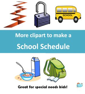 A school schedule can be used for kids with Autism, Asperger's, ADHD, or other special needs to help them know what's coming during their school day.