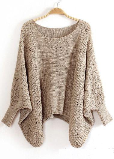Spring Essential Women Round Neck Khaki Pullovers Sweater