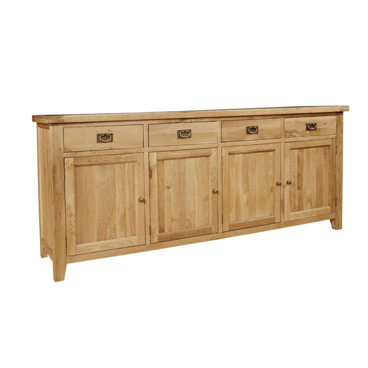Provence Solid Rustic Oak Four Drawer Four Door Buffet Unit Cabinet