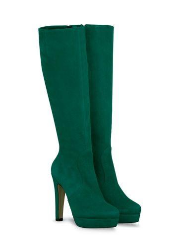 Green high heel knee high boots!