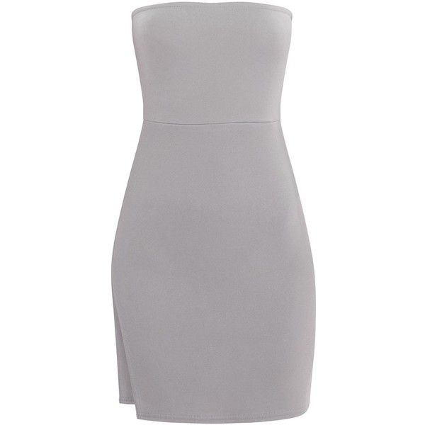 Dove Grey Crepe Split Side Bandeau Bodycon Dress ($8) ❤ liked on Polyvore featuring dresses, crepe dress, body conscious dress, bandeau bodycon dress, bandeau dress and body con dress