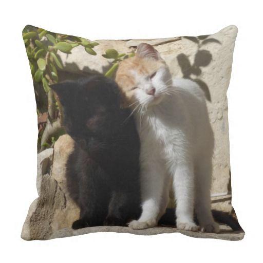 Black and orange white cute kittens pillow