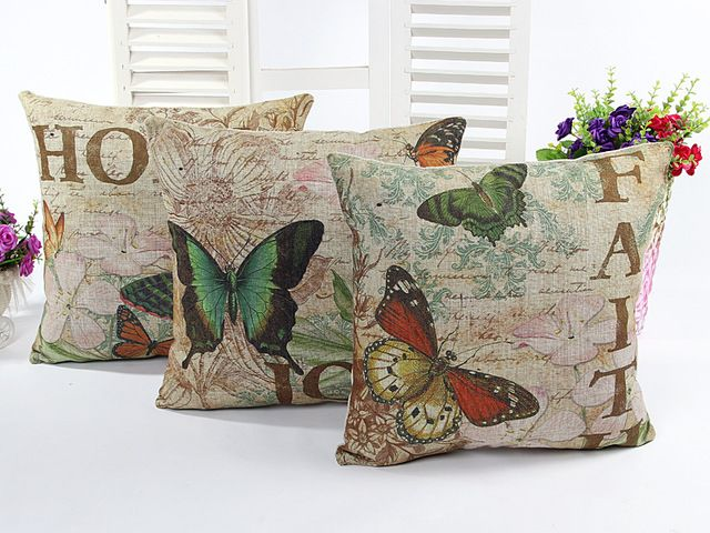 High Quality Thick Linen Butterfly Cushion Cover Sofa Decorative Linen Vintage Throw Pillows Case Waist Pillow Free Shipping