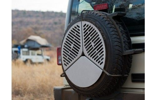 FRONT RUNNER SPARE TIRE MOUNT BRAAI / BBQ GRATE, This ingenious, all stainless steel cooking grate, stores over your spare tire and takes up virtually no space.