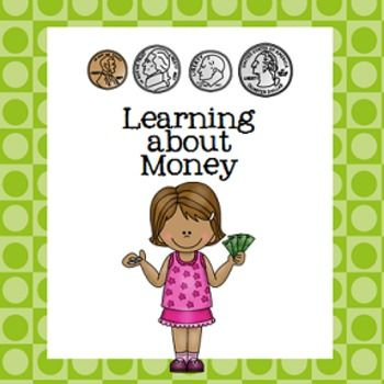 "This is a great introductory unit to help little ones learn the value of pennies, nickels, dimes, quarters and dollars.  (In US currency)  Included are:*Reference posters for each coin and a dollar bill*""Grab and Count"" penny game* ""Heads or Tails"" tally sheet (for pennies)*Counting by ones, fives and tens (using pennies, nickels and dimes)*""Bakery Shop"" and ""Clothing Shop"" worksheets""Roll and Color"" piggy bank game"