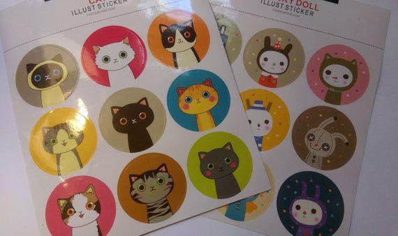 Kawaii Round Cat/Face Stickers - Planners, Scrapbook, Journal