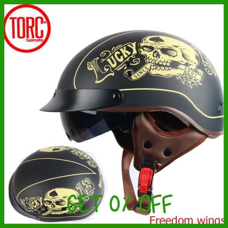 TORC T55 vintage motorcycle helmet retro scooter half helmet with Built-in lens visor DOT casco moto helmet cascos moto para