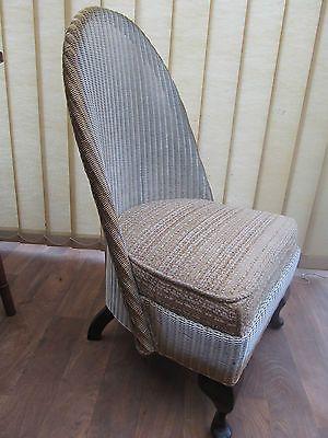 #vintage 40u0027s #bedroom #nursing Chair Lloyd Loom Style Queen Anne Legs  Cream Go
