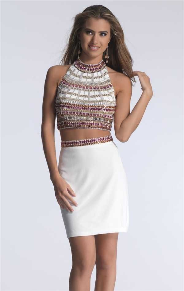 Amazing Short Dave and Johnny 1371 Two Piece Dresses with Halter Neck 2017