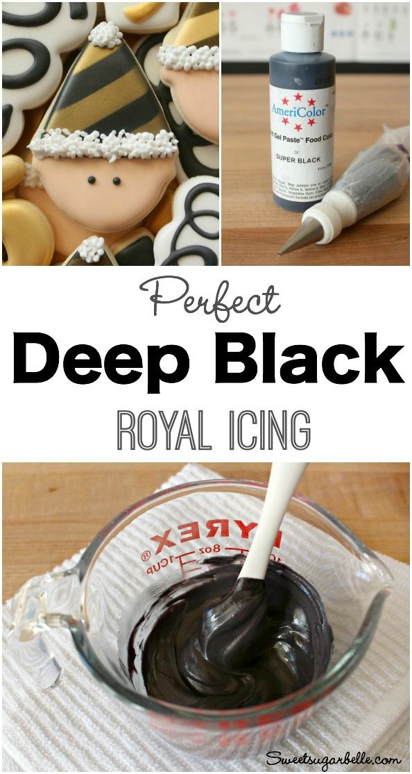 Cookie Decorating Tip:  How To Make Perfect Deep Black Royal Icing for Decorated…