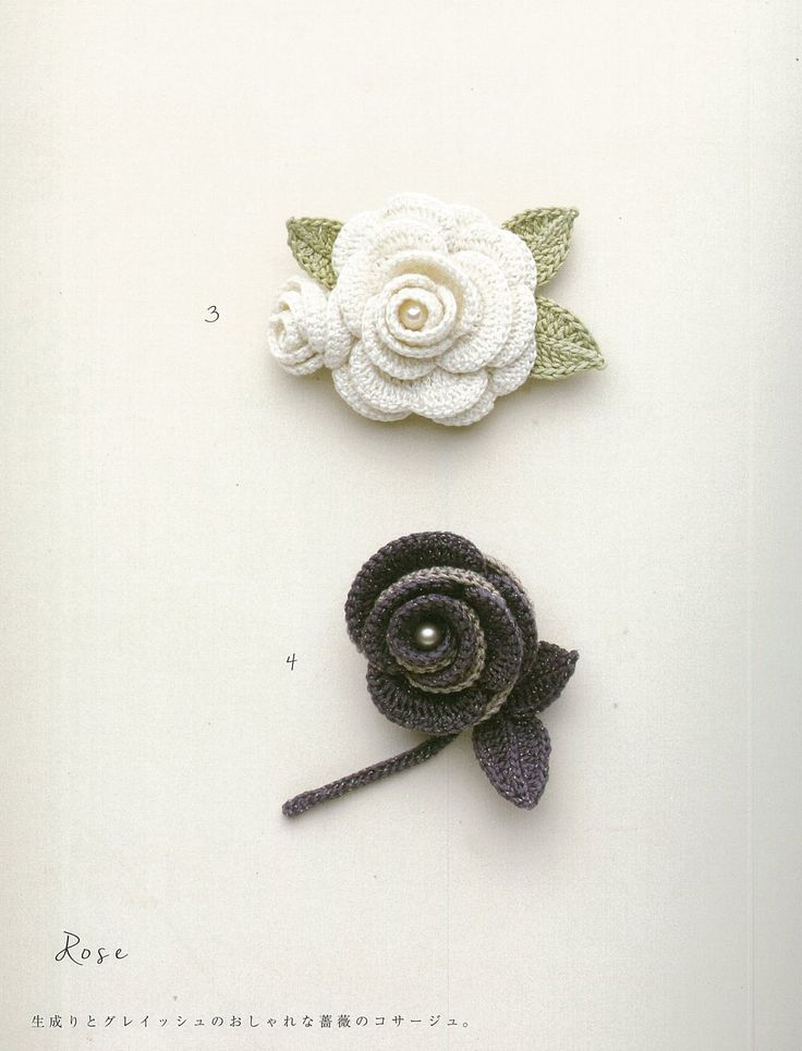 Crocheted  flowers from Japanese craft book Amazon.co.jp