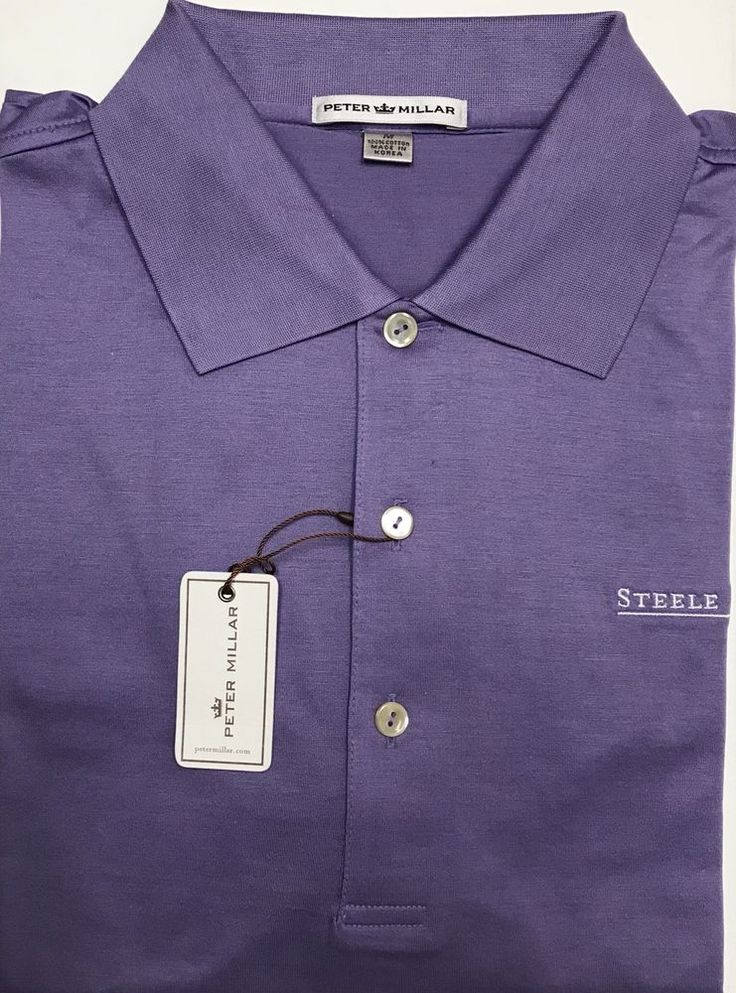 New Peter Millar Solid Purple Steele Creek NC Logo Cotton Golf Polo Shirt Size M  | eBay