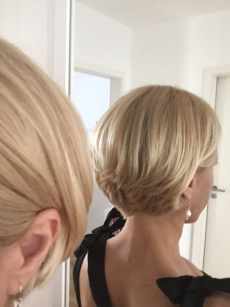 Blonde short bob cut