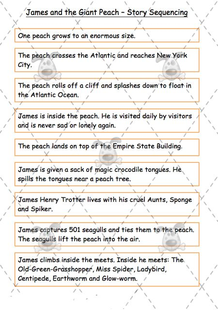 Teacher's Pet - James and the Giant Peach Story Sequence (middle) - Premium Printable Classroom Activities and Games - EYFS, KS1, KS2, Roald...