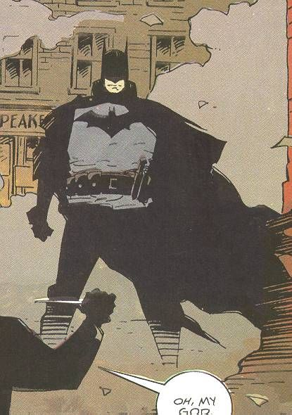 Mike Mignolia's realistic Victorian-era Batman costume from Gotham by Gaslight. I particularly like the cloak (not a cape) and the big utility belt with throwing knives (instead of batarangs).