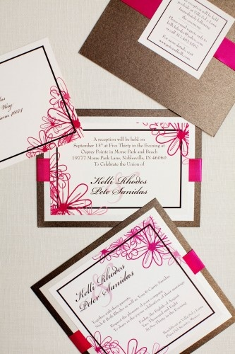 Pink and brown wedding invites