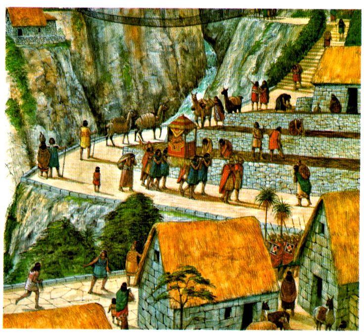 O inca carregado em sua liteira viaja pelas estradas, aldeias, vilas e cidades do império.