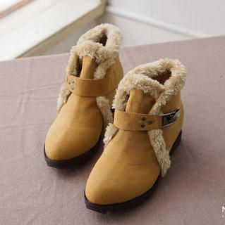 Nikiyo - Faux-guarnição da pele tortas Ankle Boots