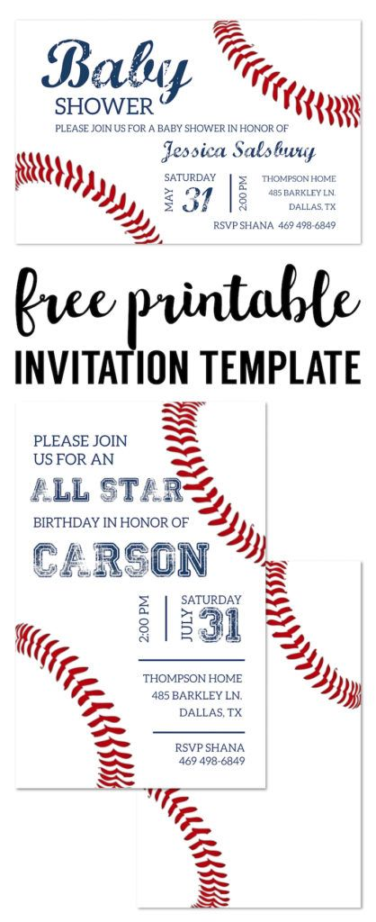 Baseball Party Invitations Free Printable. Baseball invitation template for a DIY baseball birthday party, baby shower, or baseball team party.