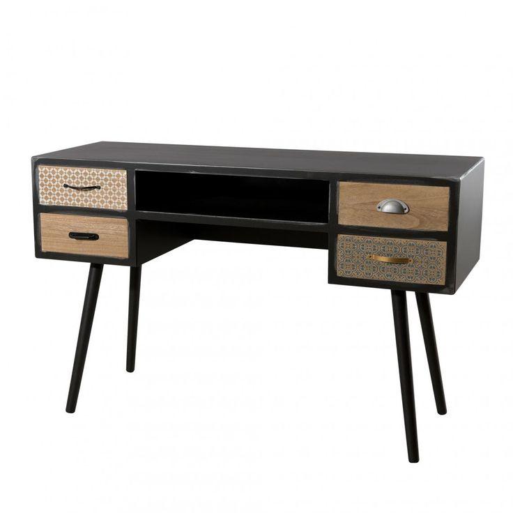 bureau 4 tiroirs style scandinave et industriel noir mat
