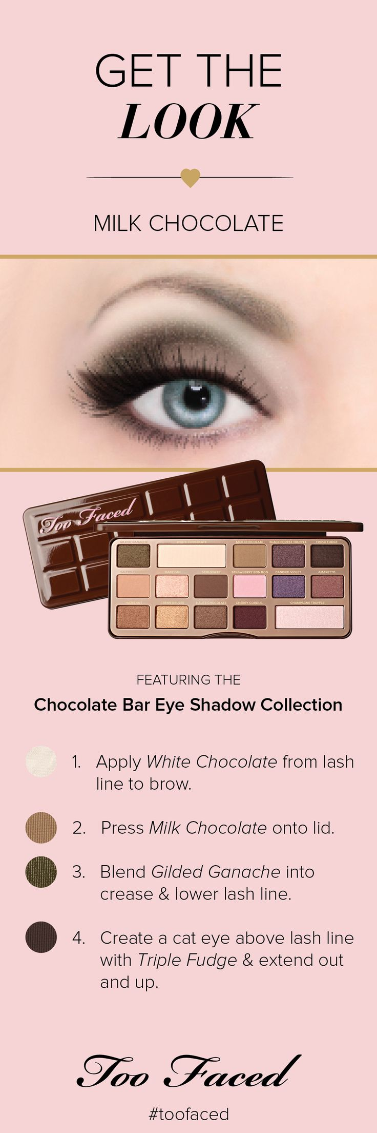 Get this perfect fall, Milk Chocolate look with the Too Faced Chocolate Bar Eye Shadow Collection! #UltaTrendAlert #toofaced