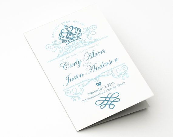 Ceremony Program Printable Template Disney Wedding Fairytale Theme Personalized Order Of Service Cinderella Once Upon A Time