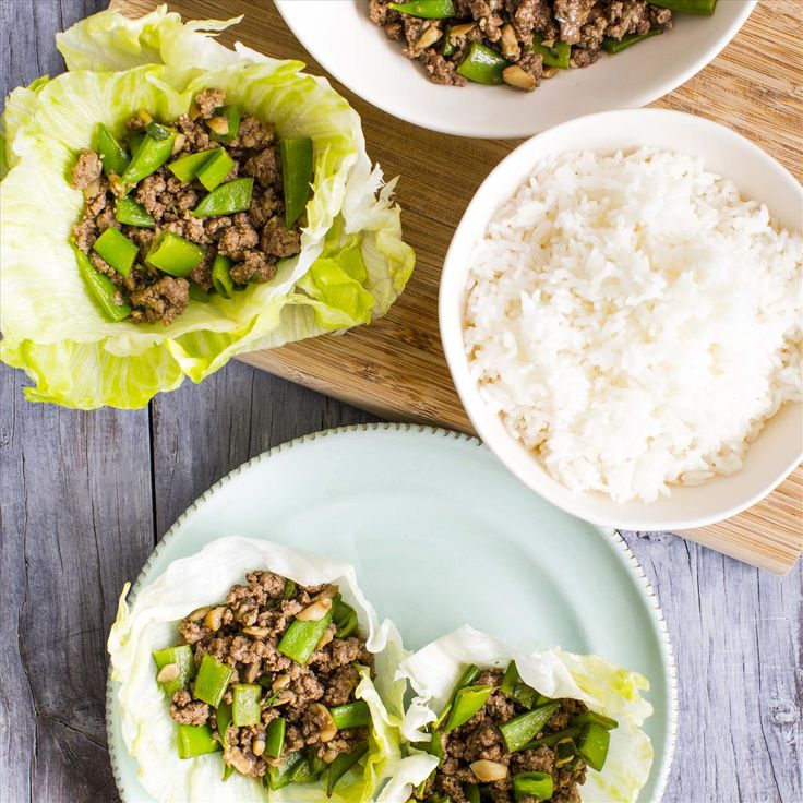 BEEF AND VEGETABLE SAN CHOY BOW WITH JASMINE RICE