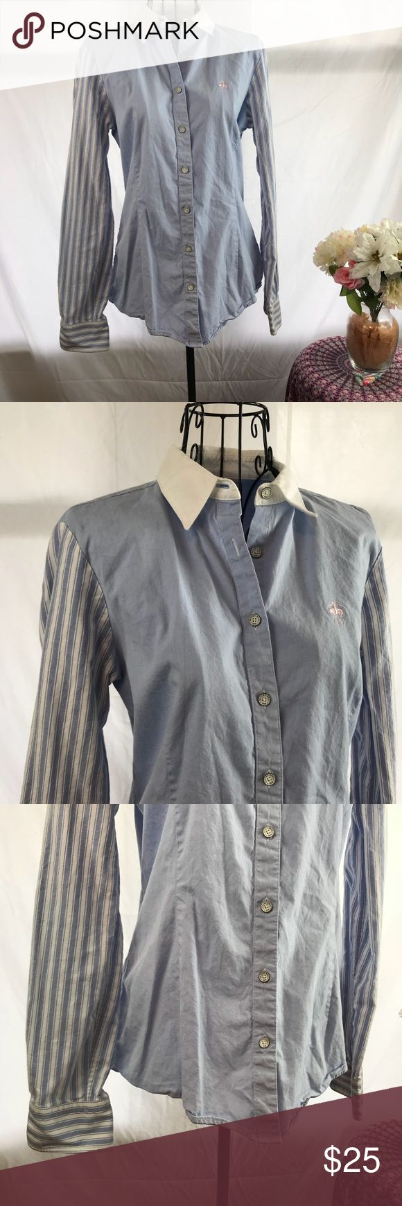 """Brooks Brothers Striped oxford shirt for women Button down Oxford shirt by brooks Brothers, for women. Featuring solid blue body and striped arms design. Size is 6  Measurements are approximate  Pit to pit 18""""  Length 22""""  Worn a couple of times only no flaws Brooks Brothers Tops Button Down Shirts"""