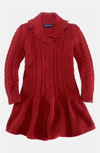 Ralph Lauren Shawl Collar Sweater Dress (Toddler) available at #Nordstrom