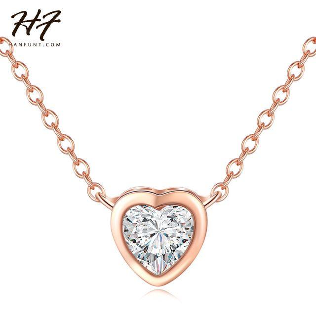 HF Высочайшее Качество Классический Простой Сердце Ожерелье Розовое Золото Цвет CZ Кристалл Кулон Ювелирные Изделия Подарок Для Женщин Оптовая N447