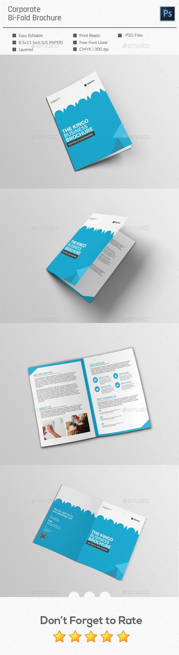 #Corporate #Bi-fold Brochure - Corporate #Brochures Download here: https://graphicriver.net/item/corporate-bifold-brochure/19746567?ref=alena994