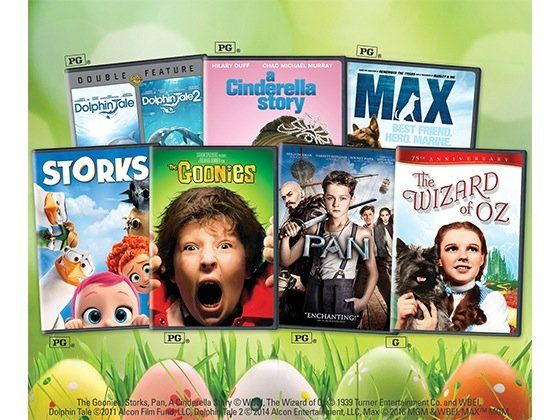 10 grand prize winners! Win The Goonies, Storks, Pan, A Cinderella Story, The Wizard of Oz, Dolphin Tale, Dolphin Tale 2 and Max DVDs, all worth $209.93. Submit your entry now!