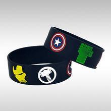 Comercio al por mayor 50 Unids/lote Los Vengadores Pulsera Pulsera De Silicona Con Iron Man Hulk Thor Capitán América Negro Viuda y Ojo de Águila(China (Mainland))