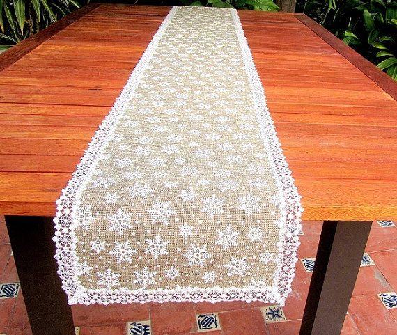 Printed snowflake natural jute custom table runner  by SABDECO