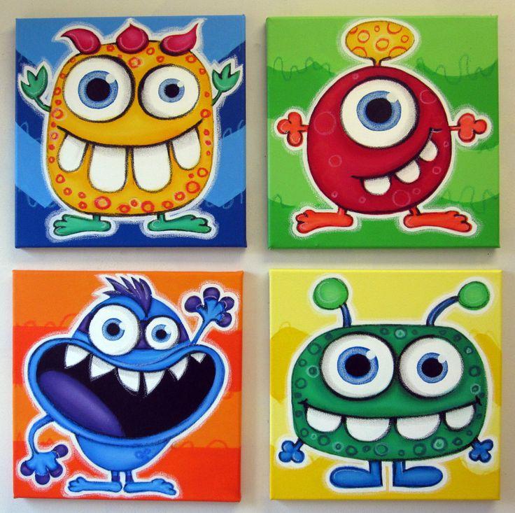 Monstruos de ojos azul set de 4 arte de pared de por art4barewalls