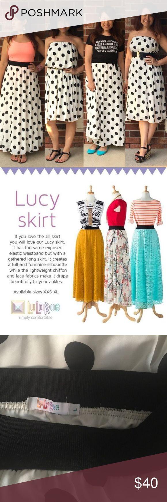 Polka Dot LulaRoe Lucy Skirt Black and white polka dot LulaRoe Lucy Skirt.  Great used condition. Size XL LuLaRoe Skirts Maxi