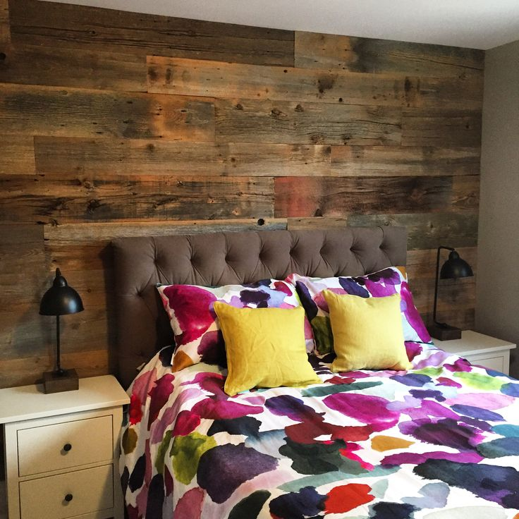 Check out this gorgeous brown barn board feature wall. Perfect for any bedroom. Check out   www.jeffmackdesigns.com to get yours.